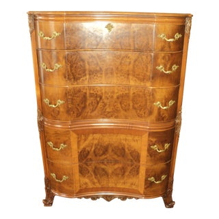 1940s Vintage French Provincial Burl Mahogany Chest of Drawers By Romweber For Sale