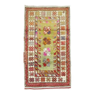 Vintage Anatolian Throw Rug in Bright Green and Pink For Sale