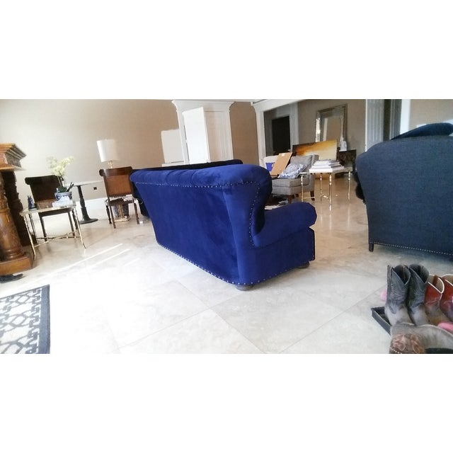 Restoration Hardware Churchill Blue Velvet Sofa - Image 6 of 6