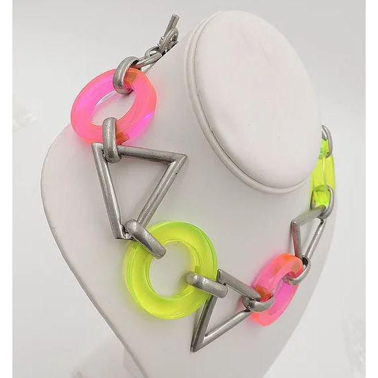 Circa 1990 Ben Amun Geometric Lucite Necklace For Sale - Image 10 of 11