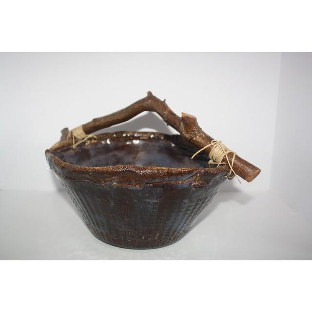 Brown Handmade Pottery Basket For Sale - Image 8 of 8