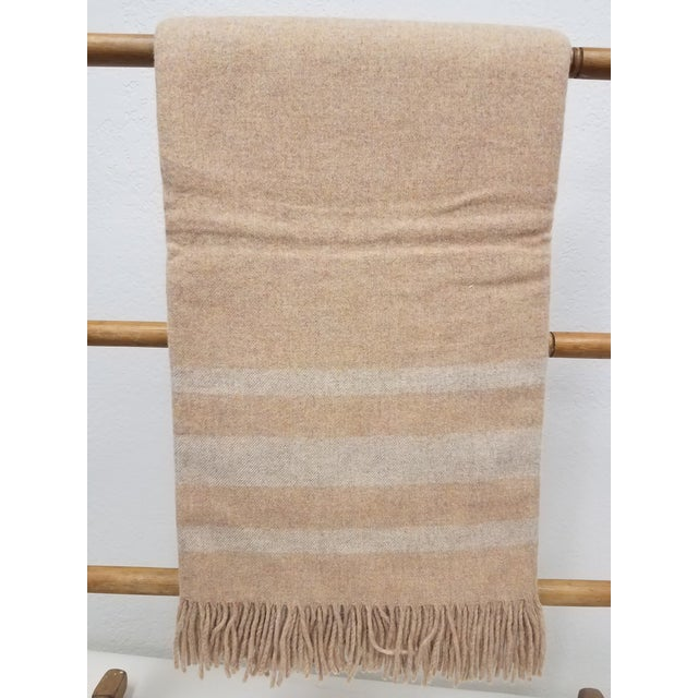 Merino Wool Throw Light Salmon With Soft White Stripes - Made in England For Sale - Image 9 of 9