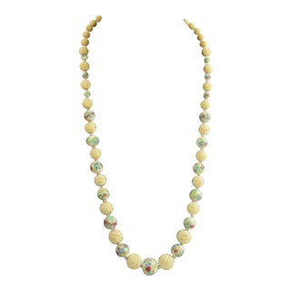 Chinese Hand Carved Bone & Murano Wedding Cake Bead Necklace For Sale