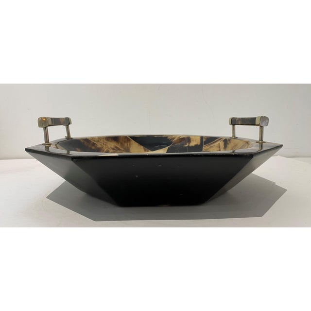 Contemporary Vintage Octagonal Tessellated Horn Serving Bowl With Handles For Sale - Image 3 of 13