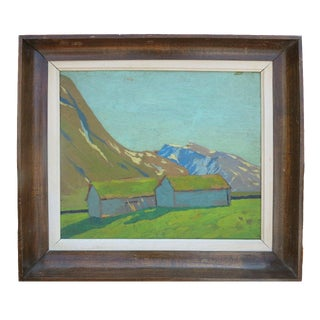 19th C Painting of 2 Houses in the Mountain For Sale