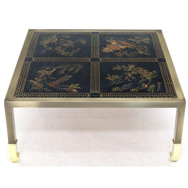 Brass and Gold Decorated Reverse Painted Glass Top Square Coffee Table For Sale - Image 13 of 13