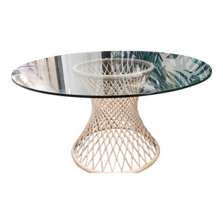 Vintage Lexington Rattan Dining Table with Glass Top For Sale