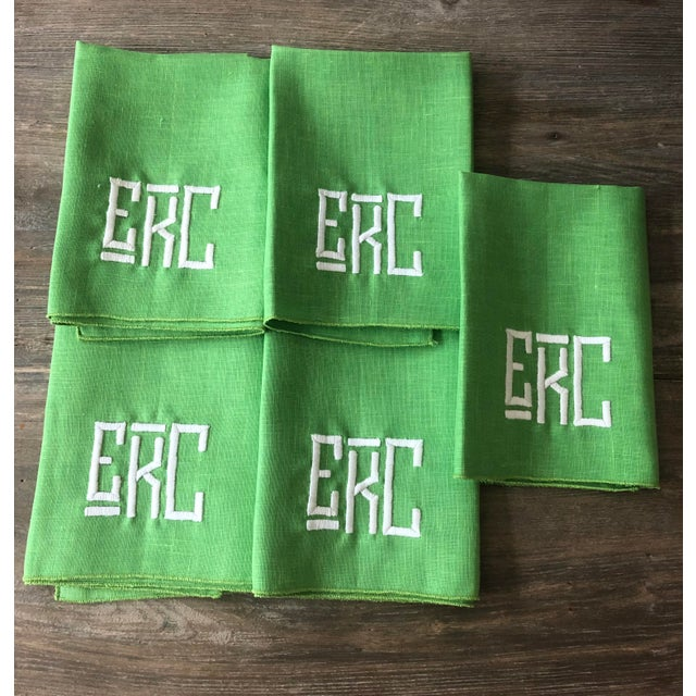 1990s Kelly Green Monogrammed Napkins, For Sale In Miami - Image 6 of 6