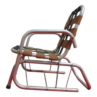 Vintage Mid Century Child's Aluminum Glider Porch Patio Chair For Sale