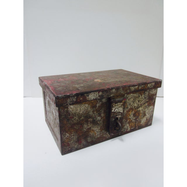 Industrial Vintage Rustic Metal Industrial Storage Tool Box For Sale - Image 3 of 8