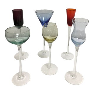 Assorted Hand Blown Glass Cordials - Set of 6