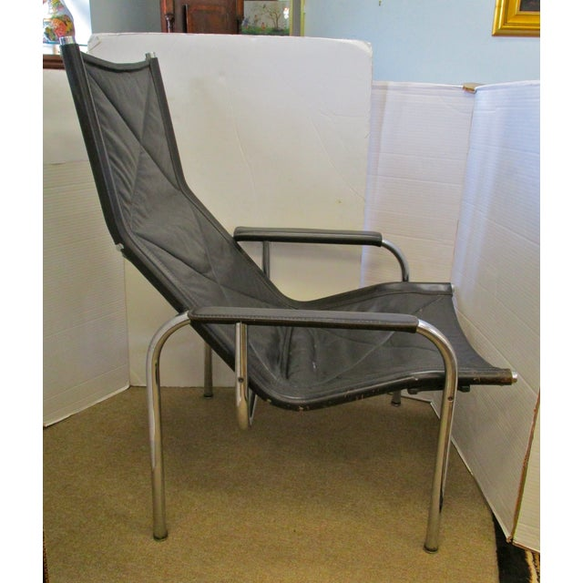 Black and Chrome Mid-Century Chair - Image 2 of 6