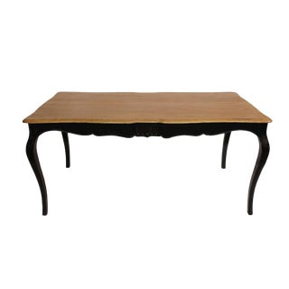 Black Lacquer Reclaimed Wood Dining Table For Sale