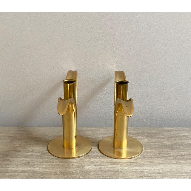 1970s Swedish Mid-Century Brass Candlesticks by Ystad Metall - a Pair For Sale - Image 5 of 13