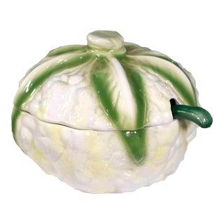 Vintage Italian Majolica Cauliflower Lidded Tureen Covered Bowl For Sale
