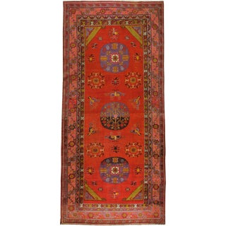 "Antique East Turkestan Khotan Gallery Carpet - Size: 4' 11"" X 10' 9"" For Sale"