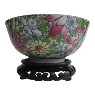 Chinoiserie Flower Bowl on Stand