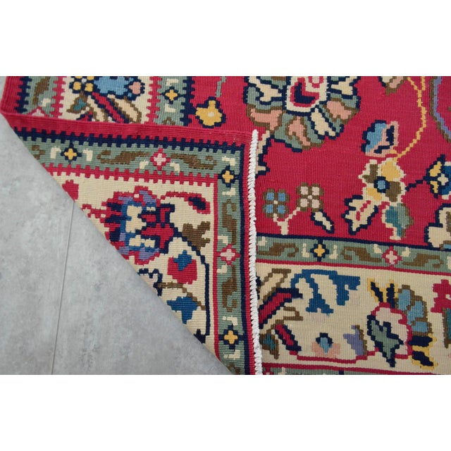 Red Vintage Hand Woven Wool Floral Kilim - 5′2″ × 7′6″ For Sale - Image 8 of 8