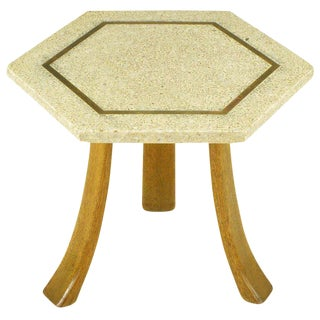 Harvey Probber Hexagonal Mahogany & Terrazzo Marble Side Table For Sale