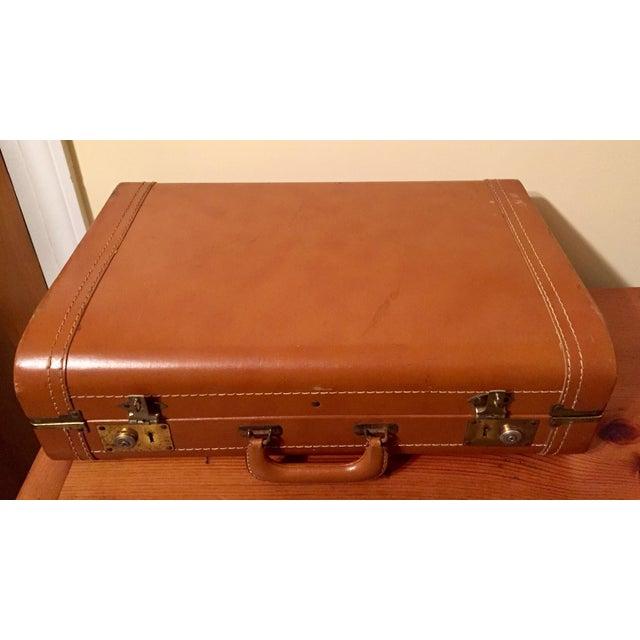 Vintage Cognac Leather Suitcase - Image 3 of 8