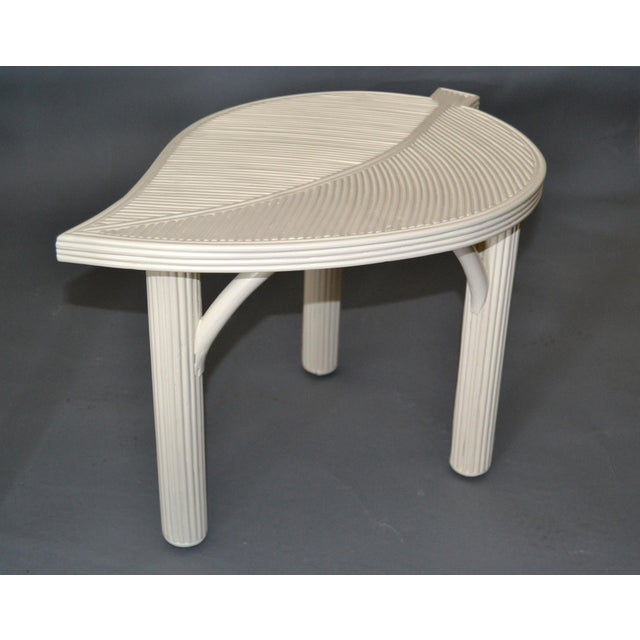 Hollywood Regency Two Leaf Shaped Bamboo & Pencil Reed Side Tables - a Pair For Sale - Image 4 of 13