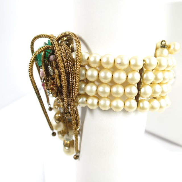 Green 1950s Miriam Haskell Faux Pearl, Crystal, & Art Glass Cuff Bracelet For Sale - Image 8 of 13