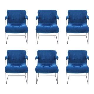 Blue Velvet and Chrome Milo Baughman Thayer Coggin Dining Chairs - Set of 6