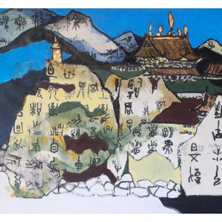 """Si Jie Loo """"Monastic Landscape"""" Original Large Acrylic Metal Leaf and Ink Collage on Canvas For Sale"""