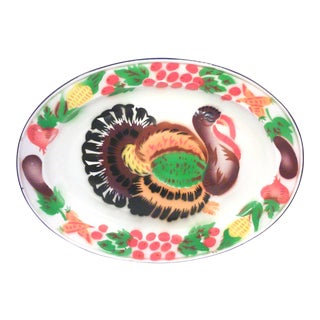 Mid-Century Enamelled Oval Turkey Platter For Sale