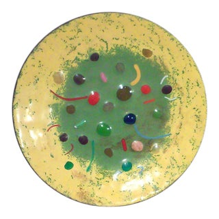 Mid-Century Colorful Enameled Brass Dish