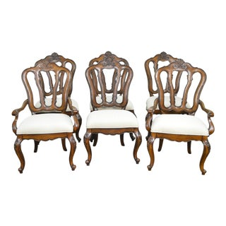 Pulaski French Rococo Walnut Dining Chairs - Set of 6