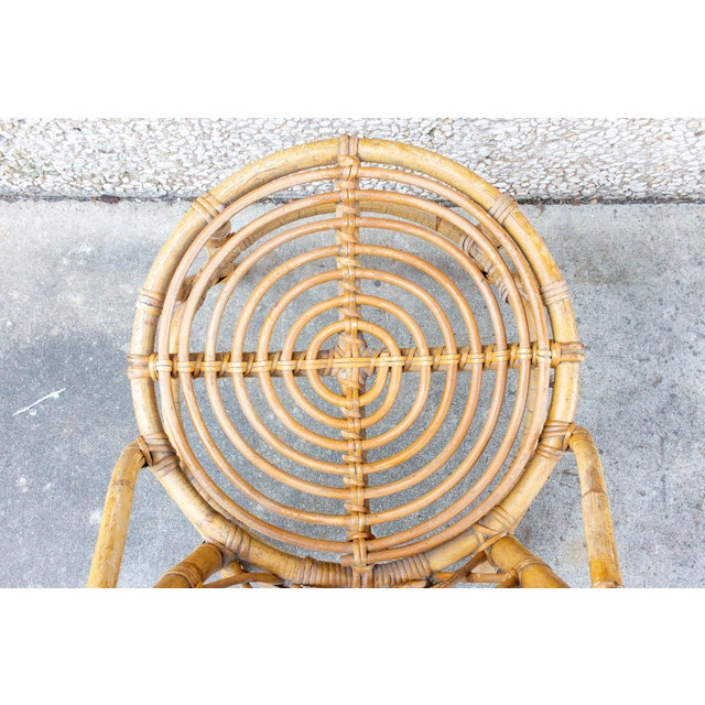 Wood Vintage French Bamboo and Rattan Dining Chairs- Set of 8 For Sale - Image 7 of 13