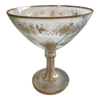 Late 19th Century Antique French Baccarat Etched Glass Vessel For Sale