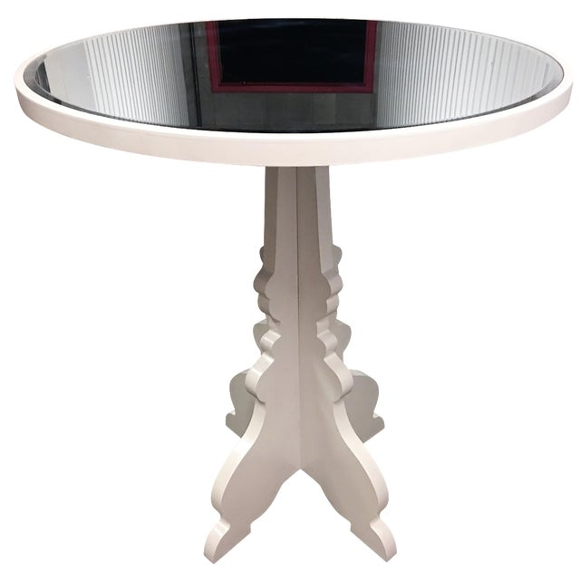 Round White Beveled Mirror Entry Table - Image 1 of 6