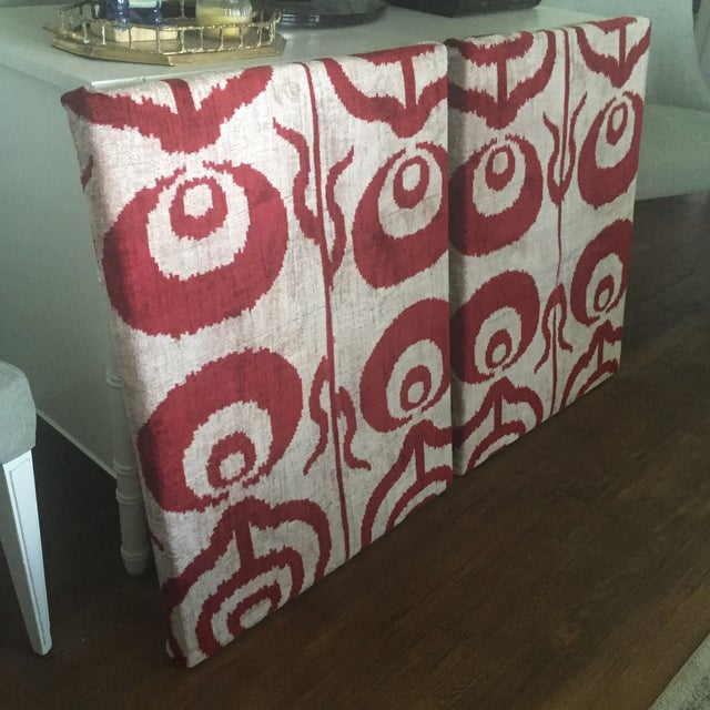 Silk Velvet Ikat Ottoman Fabric Wall Art Hangings - A Pair For Sale In Charlotte - Image 6 of 11