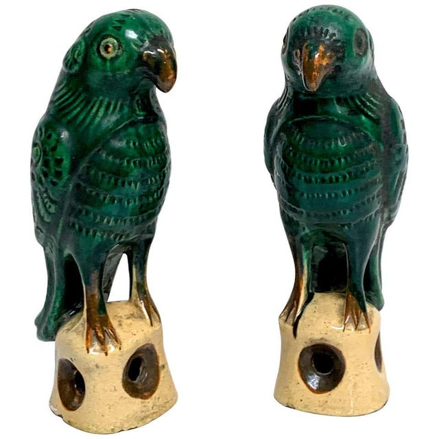 Pair of Chinese Export Porcelain Green Glazed Parrots For Sale - Image 12 of 12