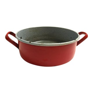 Midcentury French Red Enamelware Harvest Bowl/Pan For Sale