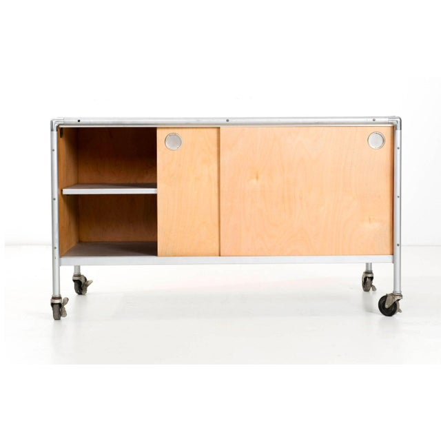 Mid-Century Modern Henry P. Glass Storage Rolling Credenza For Sale - Image 3 of 11