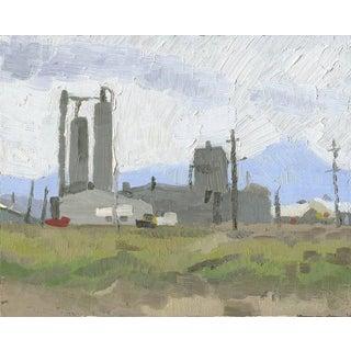 Lumber Mill, White City, Oregon: Original Oil Painting Urban Plein Air Landscape For Sale