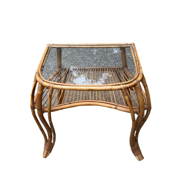20th Century Boho Chic Rattan and Bamboo Side Table For Sale - Image 4 of 4