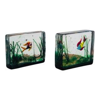 1950s Alfredo Barbini Cenedese Murano Glass Aquarium Bookends by Alfredo Barbini For Sale