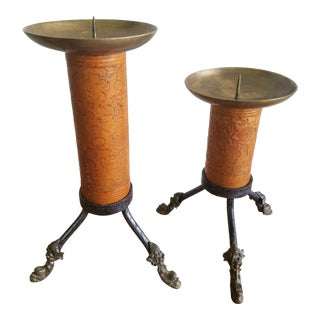 Leather and Steel Candlesticks - a Pair For Sale