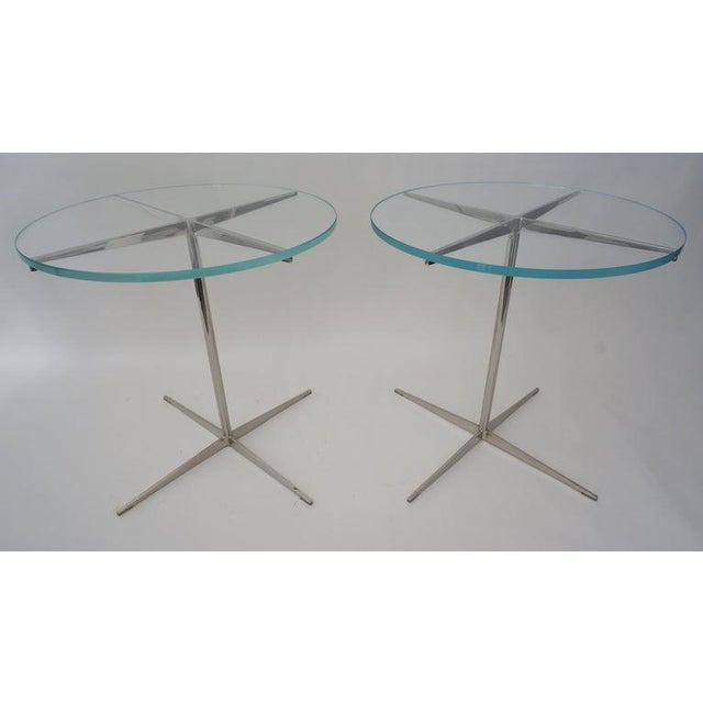 Late 20th Century Vintage Drinks or Side Tables Glass on Polished Steel Pedestal - a Pair For Sale - Image 5 of 12