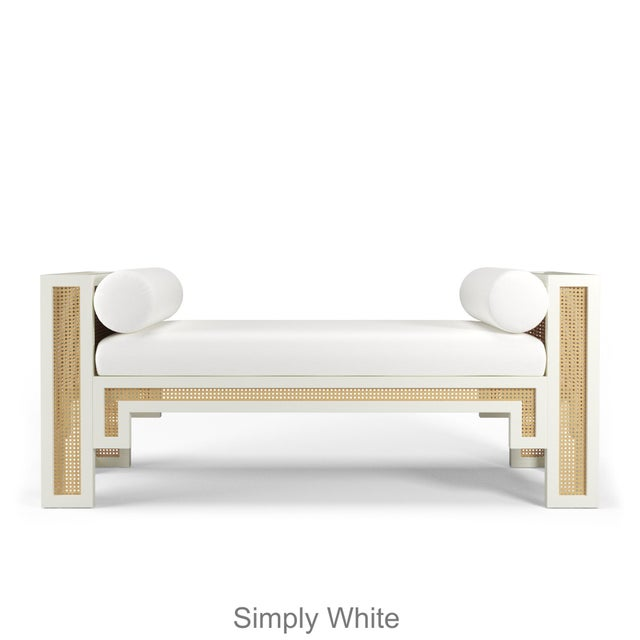 Alexandra Bench - Coral Dust, Optic White Linen For Sale - Image 4 of 5