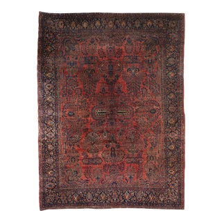 Antique Persian Sarouk Area Rug - 10'06 X 13'11 For Sale