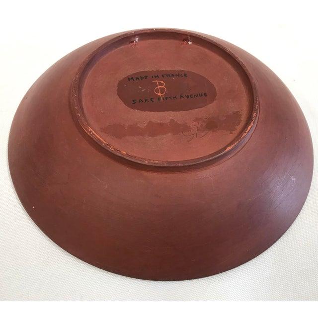 Mid 20th Century Vintage Saks Fifth Avenue French Orange Ceramic Fish Plate - Image 4 of 7