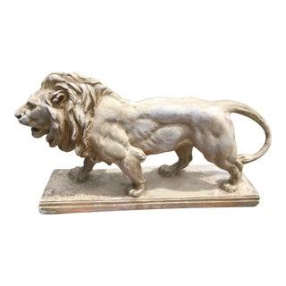Vintage Rustic Plaster Lion Sculpture For Sale
