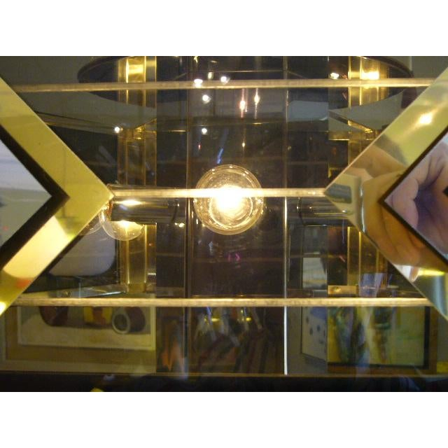 Amazing Modernist Cityscape Style Mixed Metal & Lucite Chandelier For Sale In Miami - Image 6 of 10