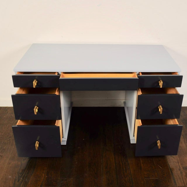 Mid-Century Modern Mid Century Lacquered Double Pedestal Desk For Sale - Image 3 of 10