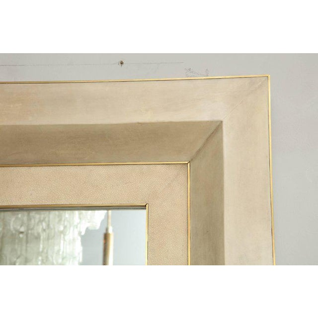 Mid-Century Modern Chic Goatskin and Shagreen Mirror with Brass Trim For Sale - Image 3 of 6